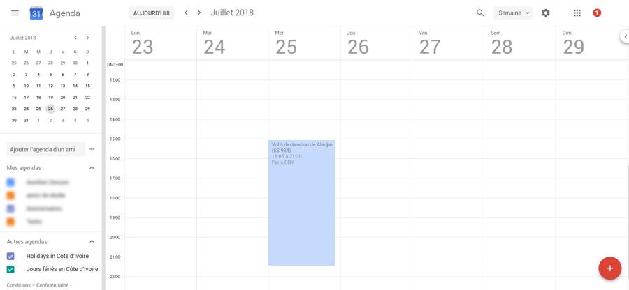 Voyage synchronisé dans Google Calendar