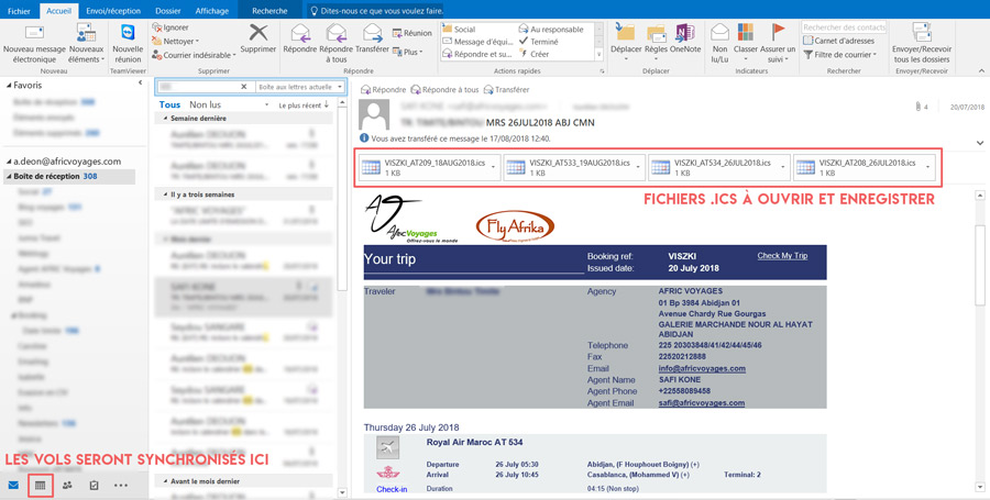 Outlook Calendrier